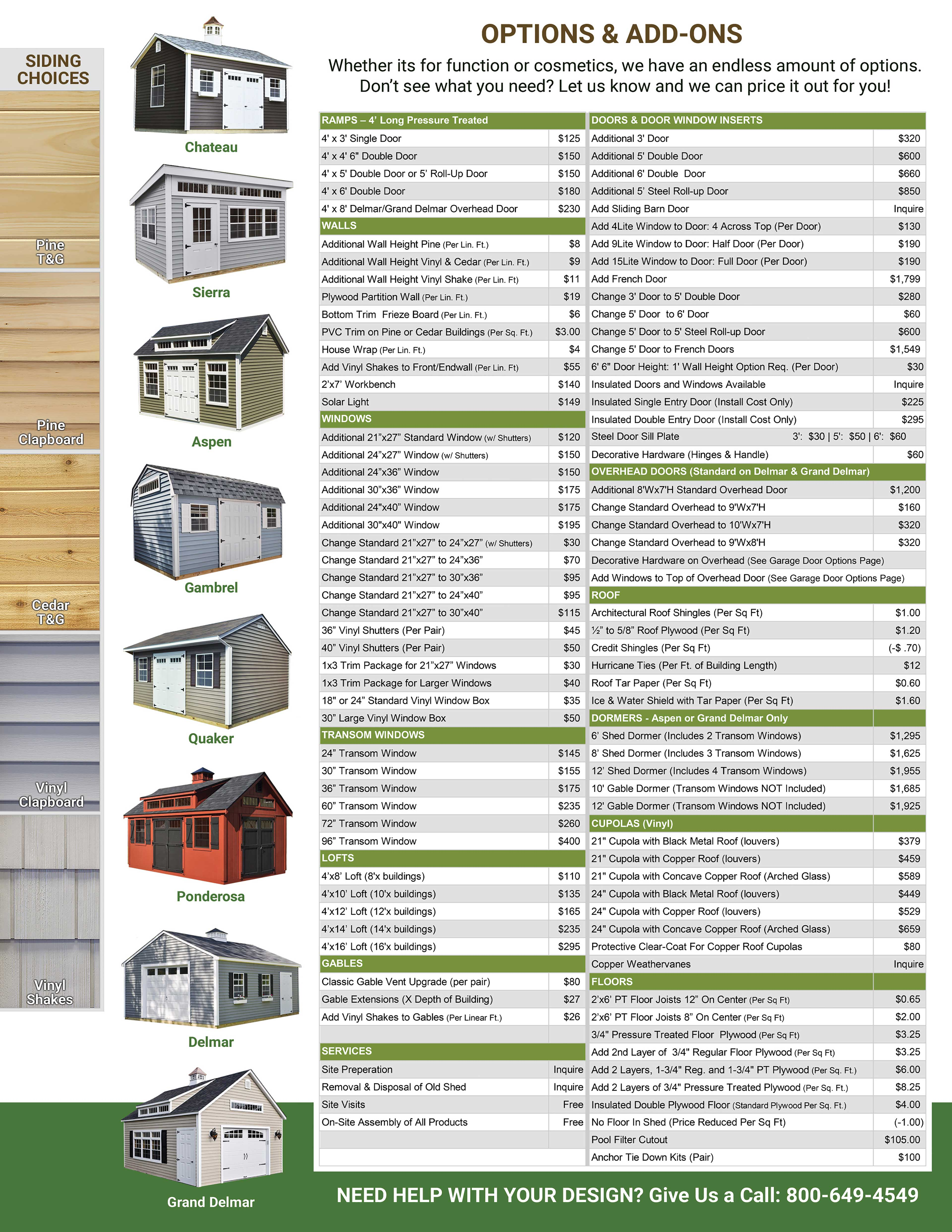 Shed Options and Pricing